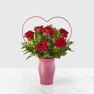 The FTD Cupid\'s Heart Red Rose Bouquet