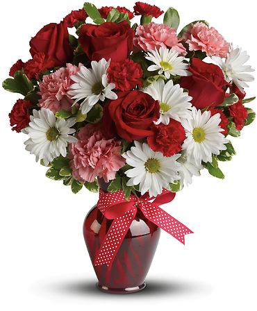 Hugs and Kisses Bouquet with Red Roses