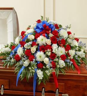 Red, White & Blue Cherished Rose Half Casket Cover