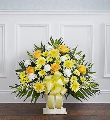Heartfelt Tribute Floor Basket- Yellow