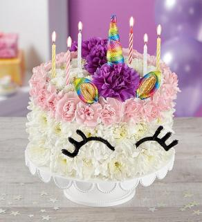 Birthday Wishes Flower CakeTM Unicorn