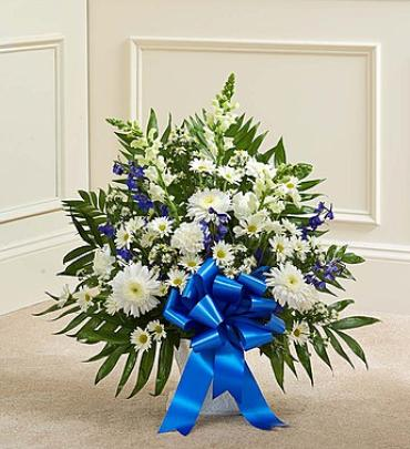 Tribute Blue and White Floor Basket Arrangement
